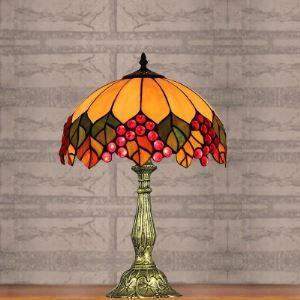 Resin Base Country Style 12 Inch Wide Tiffany Table Lamp with Grape Fruit Pattern