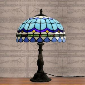 18 Inches High Blue Lattice Pull Chain Tiffany Table Lamp