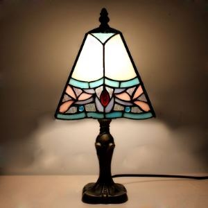 Cone 7 Inches Baroque Style Tiffany Table Lamp in Brass Finish
