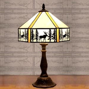 Study Room Lodge Pattern 11 Inch Table Lamp in Tiffany Stained Glass Style