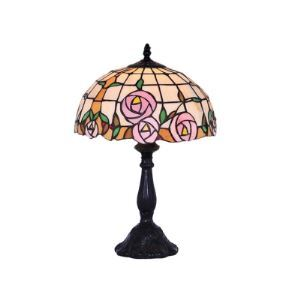 Pink Rose Pattern Tiffany Lamp Enhanced by Upscale Black Resin Base