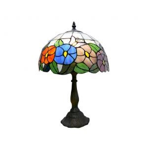 Butterfly over Flowers Tiffany Lamp with Antique Bronze Finish
