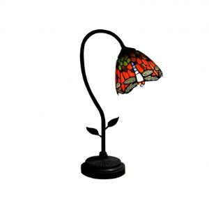 Red Follower Tiffany Desk Lamp Fixture with Dragonfly Flapping Wings Shape