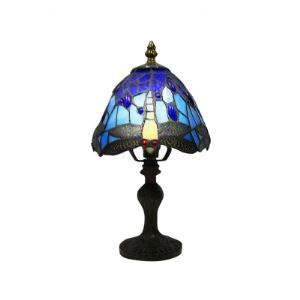 Uniquely Tiffany Table Lamp with with Vibrant Colored Dragonfly on The Shape