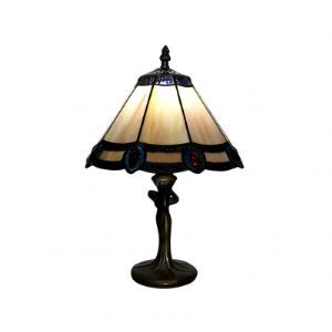 Six Sides Glass Tiffany Table Lamp with Peacock Feather Accent