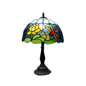 Stunning Tiffany Style Lamp with Moonlight over the Lotus Pond