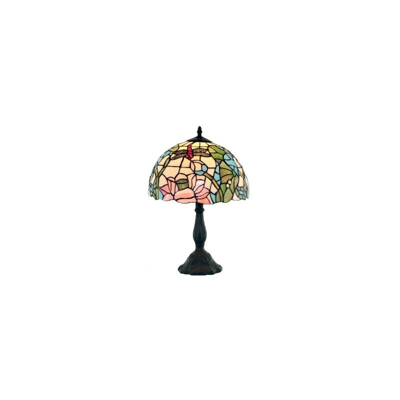 Polished Black Finish Dome Colorful Art Glass Shade Resin Tiffany Lamp
