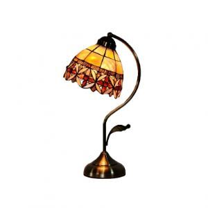 Engrossing Cutout Tiffany Shell Shade Wrought Iron Bedroom Accent Lamp