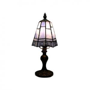 Sky Blue Tiffany Table Lamp with Copper Reticular Sheet Shape Frame