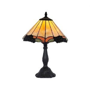 Interesting Umbrella Tiffany Lamp Features Glass Shade and Black Resin Base