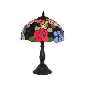 Glamorous Black Tiffany Lamp Features Colorful Flowers Dome Shade and Resin Base