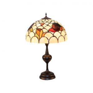Wrought Iron Black Base Dome Tiffany Glass Shade Bedroom Table Lamp
