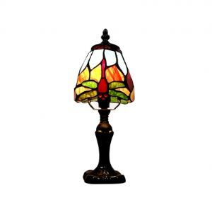 Traditional and Countryside Dragonfly Tiffany Table Lamp with Antique Brass Carved Frame