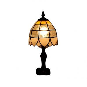 Clear Glass Tiffany Table Lamp with Antique Brass Carved