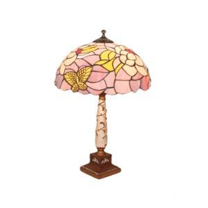 Tiffany Adorable Purple Glass Shade with Butterflies Resin Table Lamp