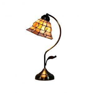 Fluttering Tiffany Bell Shell Shade Antique Brass Finish Wrought Iron Accent Lamp
