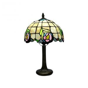 "8"" Wide by 14"" High Tiffany Lamp Highlights Adorable Floral Pattern"