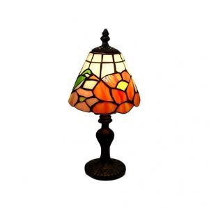 Romantic Follower Tiffany Table Lamp with Antique Brass Finished Resin Frame