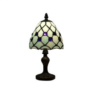 Grid Structure Tiffany Table Lamp with Sparking Blue Crystal Balls