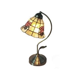Pretty Hand-painted Flower Adorned Shell Shade 17 Inches High Tiffany Accent Lamp