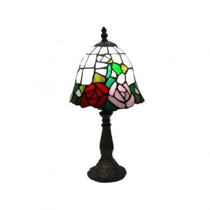Vibrant Colored Roses Adorns the Uniquely Shaded Table Lamp