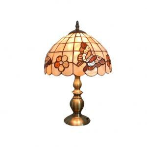 Butterflies and Flowers Motif Tiffany Shade Metal Base Bedroom Table Lamp