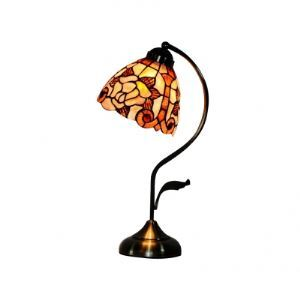 Natural Flower Pattern Shell Shade Curly Arm Tiffany Bedroom Accent Lamp