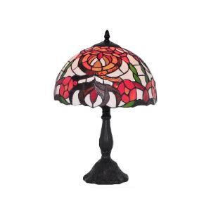 Red Flower Patterned Tiffany Glass Shade Black Resin Base Table Lamp