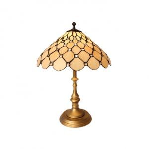 White Glass Shade in Unique Design Gold Finished Wrought Iron Base Tiffany Table Lamp