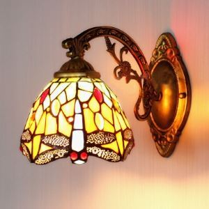 Dragonfly Pattern 6 Inches Width One Light Tiffany Wall Sconce with Switch