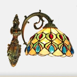 Nature Hand-made Shell Stained Glass Donwlight Tiffany Wall Sconce