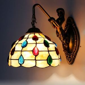 Bronze Mermaid Armed Shell Stained Glass Tiffany One-light Wall Sconce