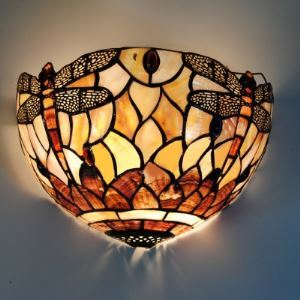 Stained Glass Shell Material Tiffany 1-light Wall Washer with Dragonfly Pattern