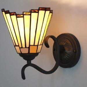 Mini Wrought Iron Uplight Tan Hall Way Tiffany Wall Sconce
