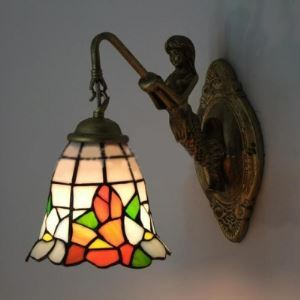 Mermaid Armed 6 Inch Bell Shade Stained Glass Tiffany Wall Sconce
