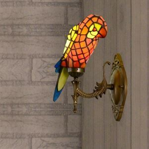 for Entry  Standing Parrot Design 10 Inch Wall Sconce in Tiffany Style