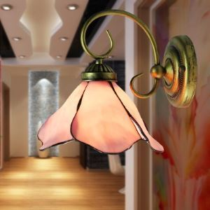 Wrought Iron Pink Stained Glass Tiffany One-light Downward Wall Lamp