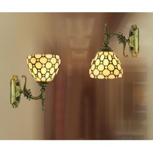 Up or Down 6 Inch Mini Wall Sconce in Tiffany Beige Stained Glass Style