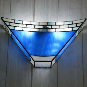 Geometric Tiffany Wall Light Blue Stained Glass 8 Inch High Tiffany Wall Sconce