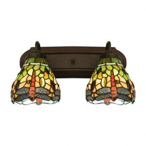 Vintage Copper Finish Bath Lighting with Two Gragonfly Shades in Tiffany Style