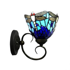 Tiffany One Light Wall Sconce 6.5 Inches Width Shade in Dragonfly Pattern