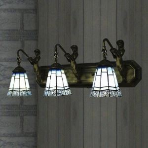 24 Inch Wide Blue Stained Glass Downlight Tiffany 3-light Bathroom Fixture