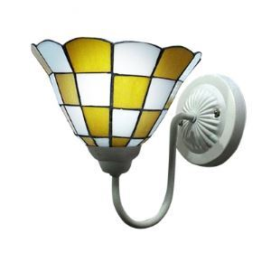Yellow and White Art Glass One Light Wall Sconce in Tiffany Style
