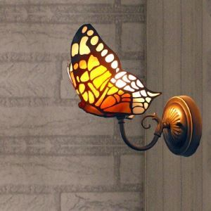 Golden Butterfly Design 5 Inch Mini Wall Sconce for Foyer Lighting in Tiffany Style