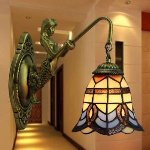 Mermaid Baroque Pattern 6 Inch Mini Wall Sconce in Tiffany Stained Glass Style