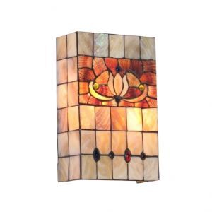 Playful Tiffany Style Wallwasher Accented with Hand-painted Shell Shade