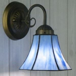 Bronze Armed Blue Stained Glass 10 Inch High Tiffany Wall Sconce Up or Down