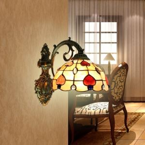 Bowl Shape Tiffany Wall Lamp with Heart Motif