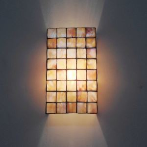 Consice Tiffany Style 14 Inches Wide Square Shell Wall Lamp