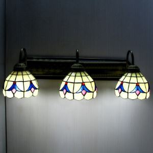Up or Down Light Bronze Base 24 Inch Bathroom Sconce in Tiffany Stained Glass Style